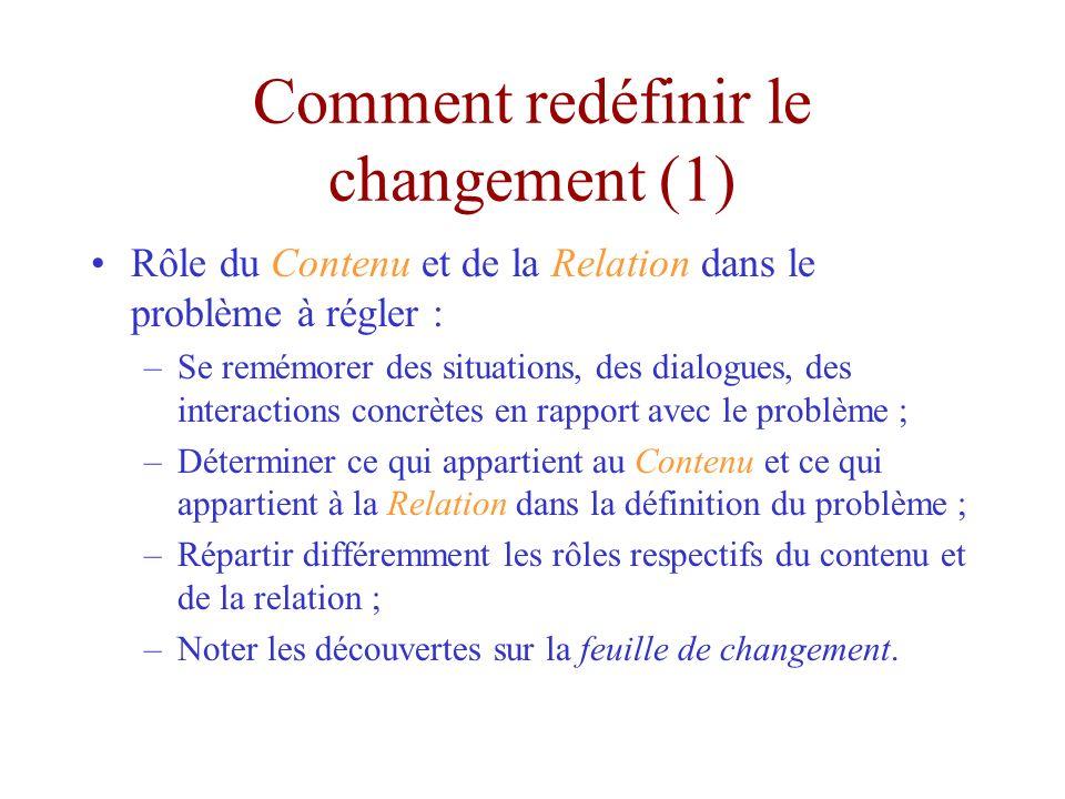 Comment redéfinir le changement (1) Rôle du Contenu et de la Relation dans le problème à régler : –Se remémorer des situations, des dialogues, des interactions concrètes en rapport avec le problème ; –Déterminer ce qui appartient au Contenu et ce qui appartient à la Relation dans la définition du problème ; –Répartir différemment les rôles respectifs du contenu et de la relation ; –Noter les découvertes sur la feuille de changement.