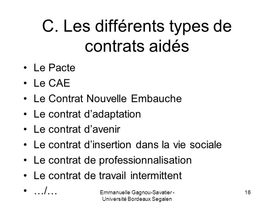 C. Les différents types de contrats aidés Le Pacte Le CAE Le Contrat Nouvelle Embauche Le contrat dadaptation Le contrat davenir Le contrat dinsertion