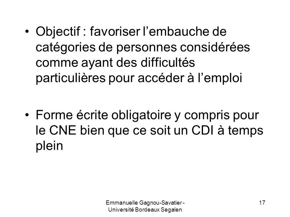 Objectif : favoriser lembauche de catégories de personnes considérées comme ayant des difficultés particulières pour accéder à lemploi Forme écrite ob
