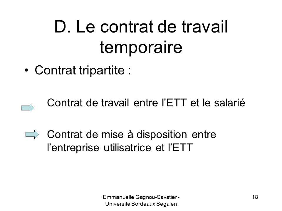 D. Le contrat de travail temporaire Contrat tripartite : Contrat de travail entre lETT et le salarié Contrat de mise à disposition entre lentreprise u