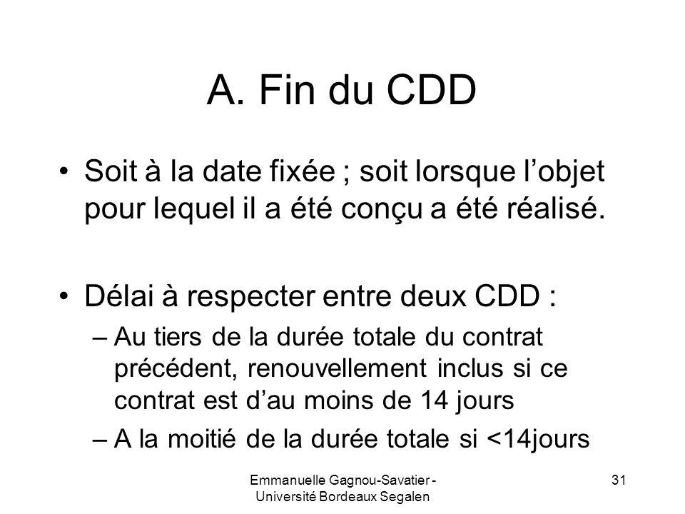 A. Fin du CDD Soit à la date fixée ; soit lorsque lobjet pour lequel il a été conçu a été réalisé. Délai à respecter entre deux CDD : –Au tiers de la