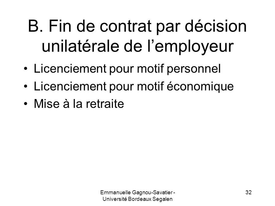 B. Fin de contrat par décision unilatérale de lemployeur Licenciement pour motif personnel Licenciement pour motif économique Mise à la retraite 32Emm