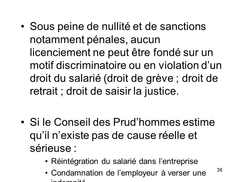 Sous peine de nullité et de sanctions notamment pénales, aucun licenciement ne peut être fondé sur un motif discriminatoire ou en violation dun droit