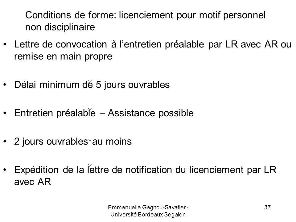 Conditions de forme: licenciement pour motif personnel non disciplinaire Lettre de convocation à lentretien préalable par LR avec AR ou remise en main