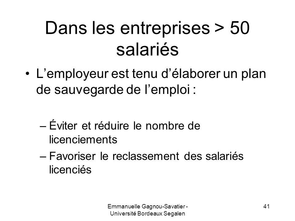 Dans les entreprises > 50 salariés Lemployeur est tenu délaborer un plan de sauvegarde de lemploi : –Éviter et réduire le nombre de licenciements –Fav