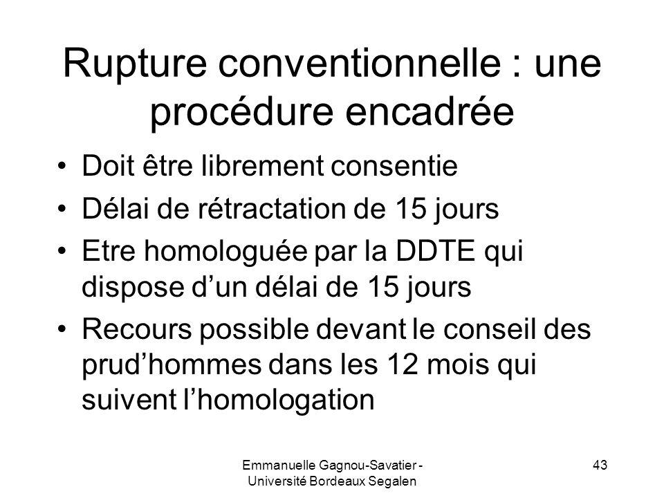 Rupture conventionnelle : une procédure encadrée Doit être librement consentie Délai de rétractation de 15 jours Etre homologuée par la DDTE qui dispo