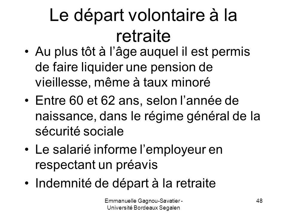 Le départ volontaire à la retraite Au plus tôt à lâge auquel il est permis de faire liquider une pension de vieillesse, même à taux minoré Entre 60 et