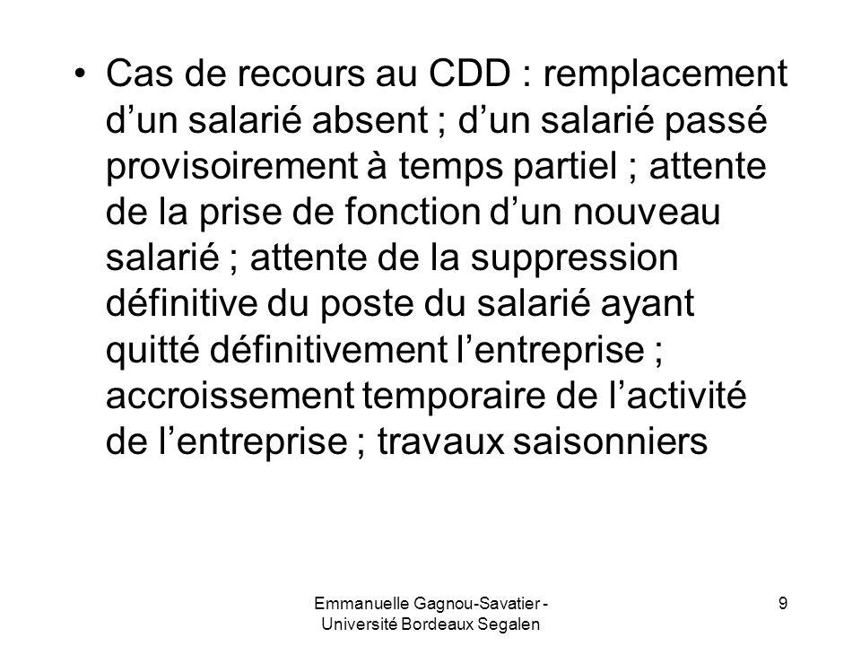Cas de recours au CDD : remplacement dun salarié absent ; dun salarié passé provisoirement à temps partiel ; attente de la prise de fonction dun nouve
