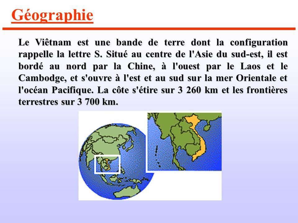 Géographie Le Viêtnam est une bande de terre dont la configuration rappelle la lettre S.