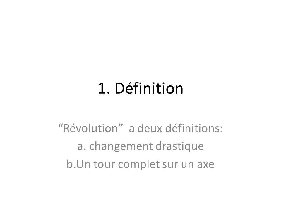 1. Définition Révolution a deux définitions: a. changement drastique b.Un tour complet sur un axe