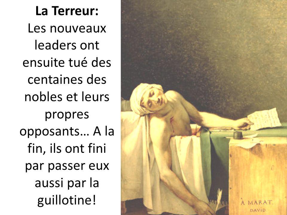 La Terreur: Les nouveaux leaders ont ensuite tué des centaines des nobles et leurs propres opposants… A la fin, ils ont fini par passer eux aussi par