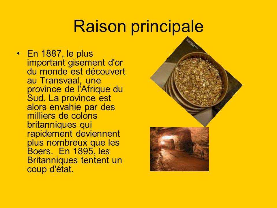 Raison principale En 1887, le plus important gisement d or du monde est découvert au Transvaal, une province de l Afrique du Sud.