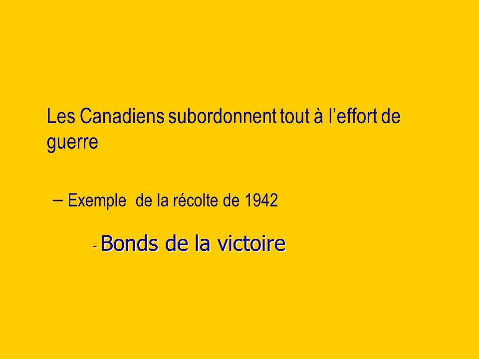 Les Canadiens subordonnent tout à leffort de guerre – – Exemple de la récolte de 1942 - Bonds de la victoire