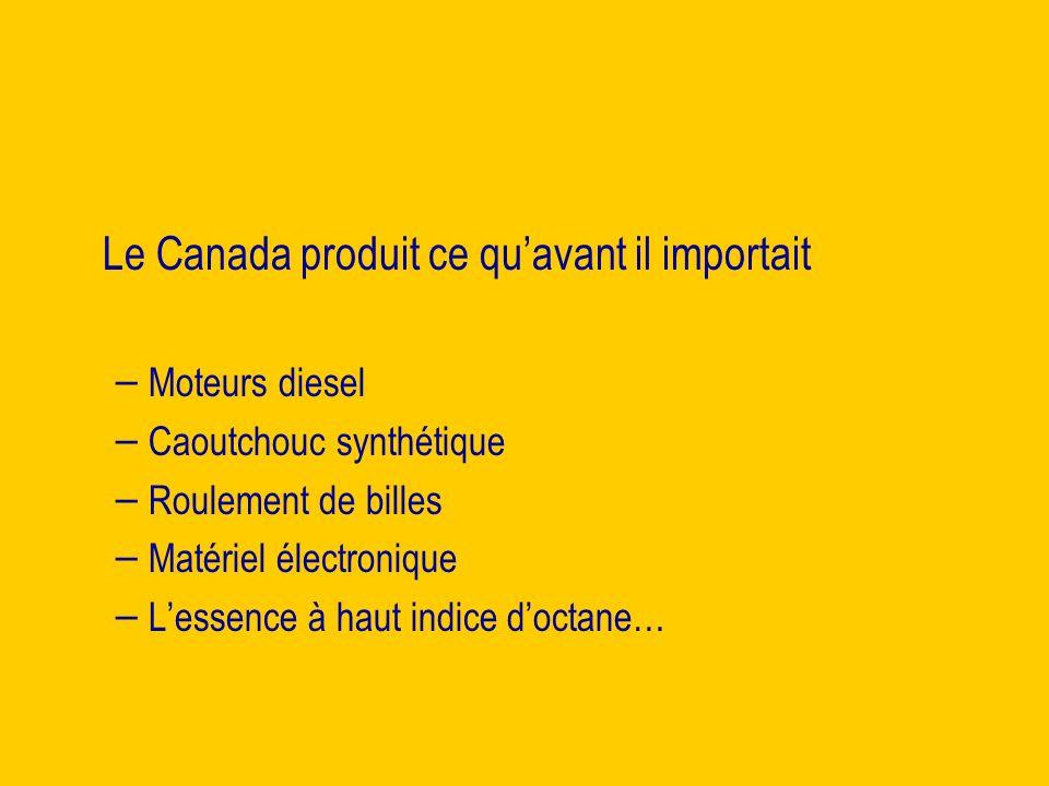 Le Canada produit ce quavant il importait – – Moteurs diesel – – Caoutchouc synthétique – – Roulement de billes – – Matériel électronique – – Lessence à haut indice doctane…