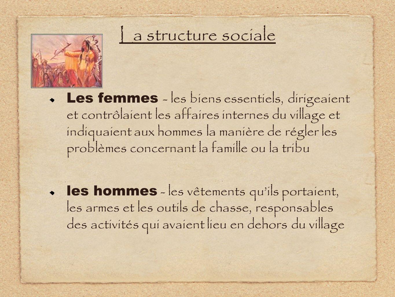La structure sociale Les femmes - les biens essentiels, dirigeaient et contrôlaient les affaires internes du village et indiquaient aux hommes la mani