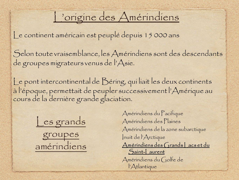 Lorigine des Amérindiens Le continent américain est peuplé depuis 15 000 ans Selon toute vraisemblance, les Amérindiens sont des descendants de groupe