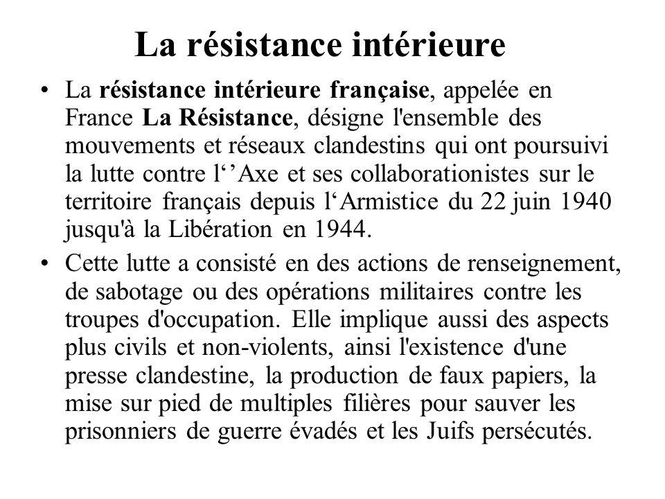 La résistance intérieure française, appelée en France La Résistance, désigne l'ensemble des mouvements et réseaux clandestins qui ont poursuivi la lut