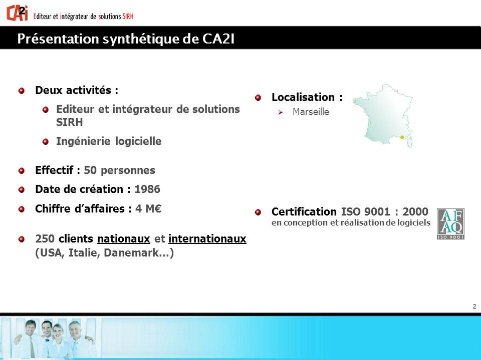 2 Présentation synthétique de CA2I Deux activités : Editeur et intégrateur de solutions SIRH Ingénierie logicielle Effectif : 50 personnes Date de cré