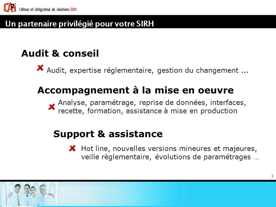 3 Audit & conseil Audit, expertise réglementaire, gestion du changement … Accompagnement à la mise en oeuvre Analyse, paramétrage, reprise de données,