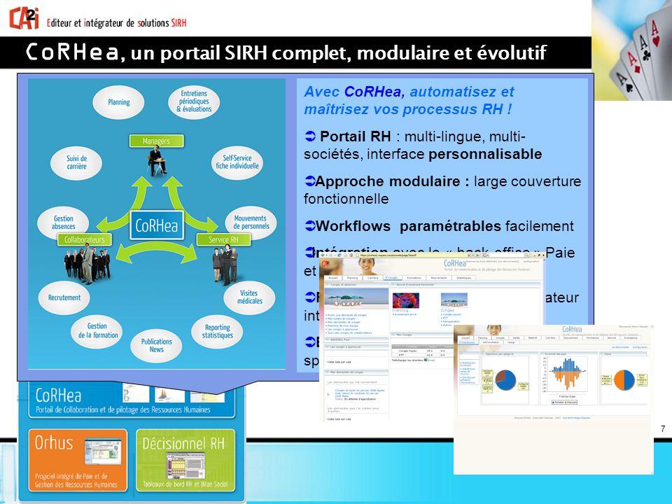 7 CoRHea, un portail SIRH complet, modulaire et évolutif Avec CoRHea, automatisez et maîtrisez vos processus RH ! Portail RH : multi-lingue, multi- so