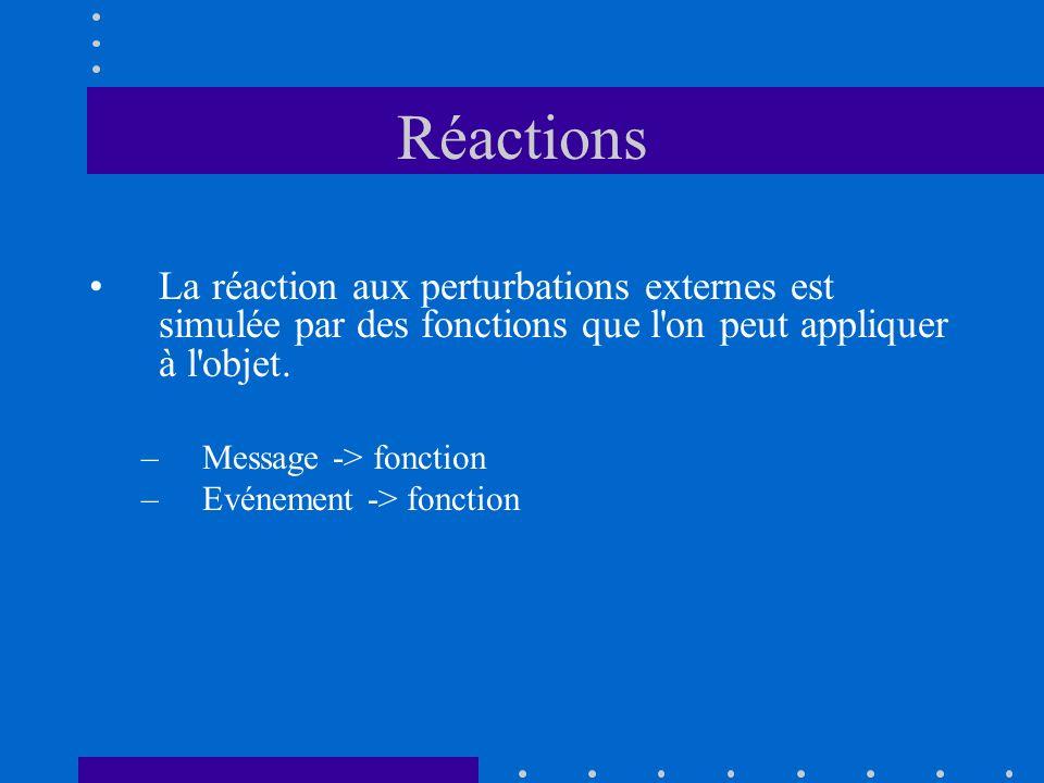 Réactions La réaction aux perturbations externes est simulée par des fonctions que l'on peut appliquer à l'objet. –Message -> fonction –Evénement -> f