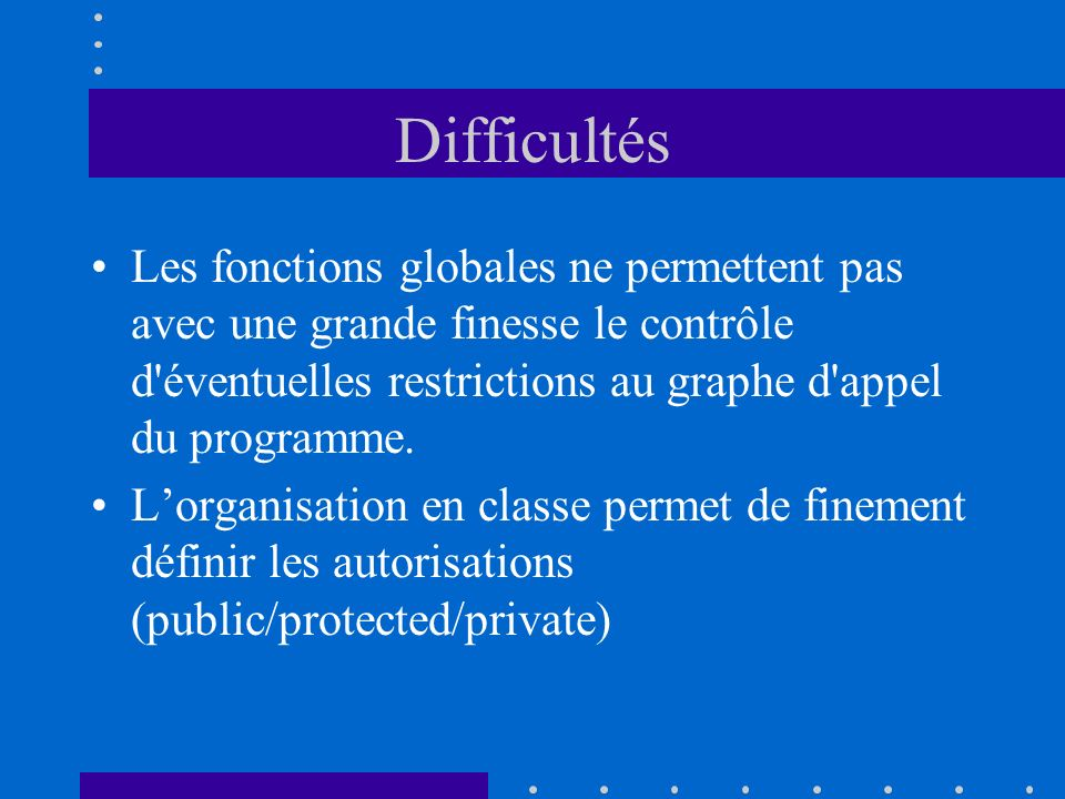 Difficultés Les fonctions globales ne permettent pas avec une grande finesse le contrôle d éventuelles restrictions au graphe d appel du programme.