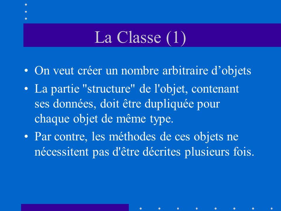 La Classe (1) On veut créer un nombre arbitraire dobjets La partie structure de l objet, contenant ses données, doit être dupliquée pour chaque objet de même type.