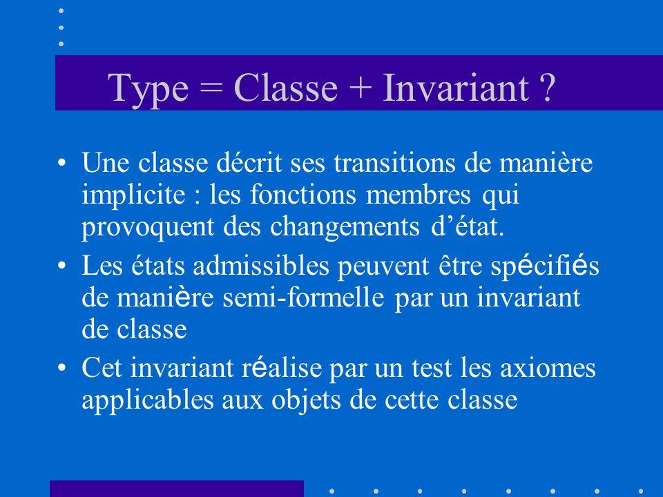 Type = Classe + Invariant ? Une classe décrit ses transitions de manière implicite : les fonctions membres qui provoquent des changements détat. Les é
