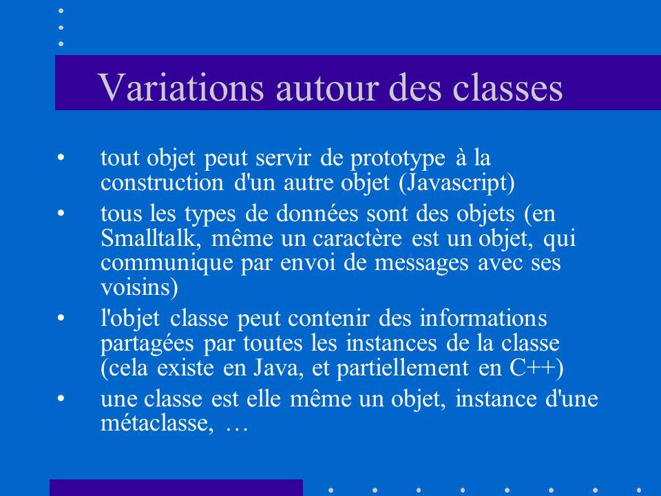 Variations autour des classes tout objet peut servir de prototype à la construction d un autre objet (Javascript) tous les types de données sont des objets (en Smalltalk, même un caractère est un objet, qui communique par envoi de messages avec ses voisins) l objet classe peut contenir des informations partagées par toutes les instances de la classe (cela existe en Java, et partiellement en C++) une classe est elle même un objet, instance d une métaclasse, …