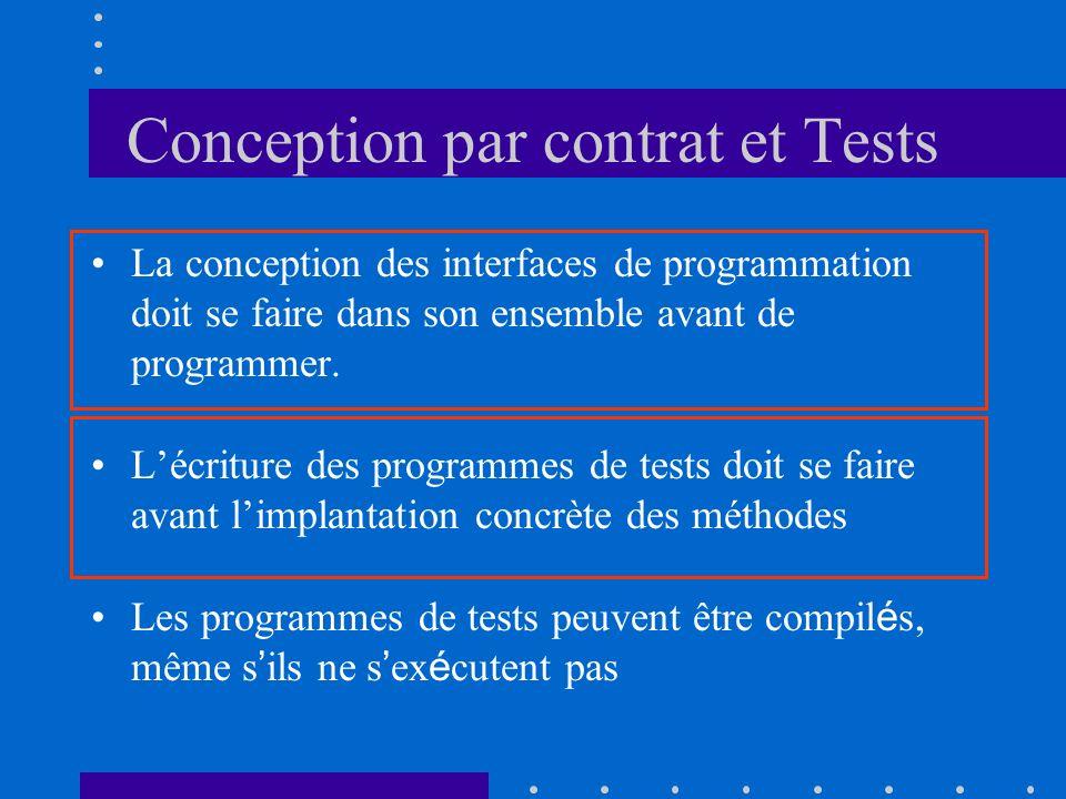 Conception par contrat et Tests La conception des interfaces de programmation doit se faire dans son ensemble avant de programmer.