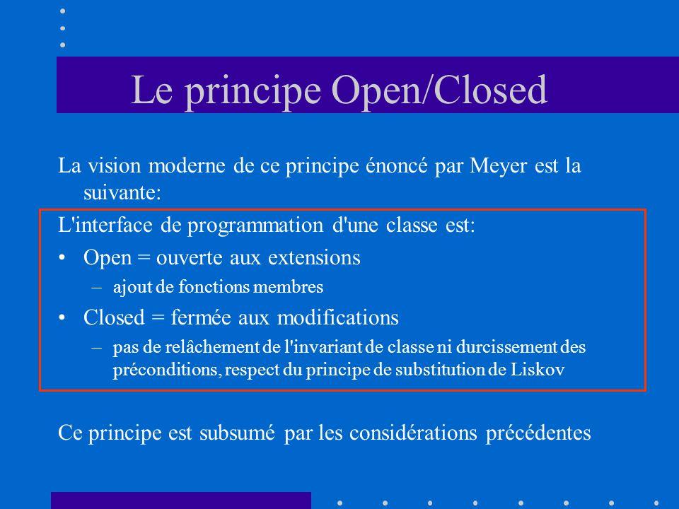 Le principe Open/Closed La vision moderne de ce principe énoncé par Meyer est la suivante: L interface de programmation d une classe est: Open = ouverte aux extensions –ajout de fonctions membres Closed = fermée aux modifications –pas de relâchement de l invariant de classe ni durcissement des préconditions, respect du principe de substitution de Liskov Ce principe est subsumé par les considérations précédentes