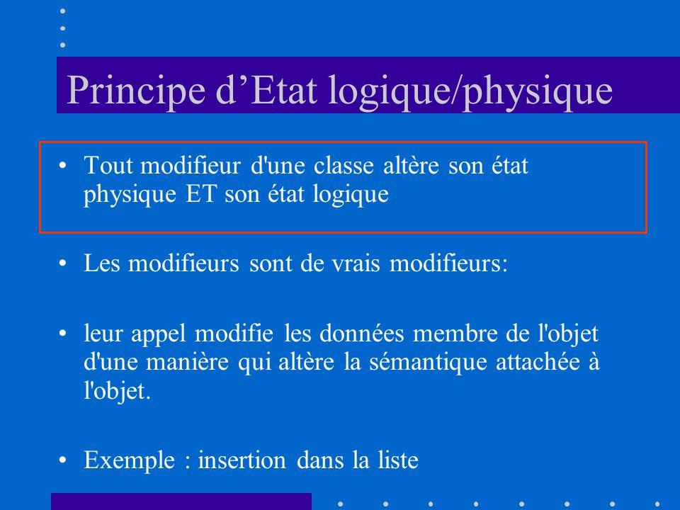 Principe dEtat logique/physique Tout modifieur d une classe altère son état physique ET son état logique Les modifieurs sont de vrais modifieurs: leur appel modifie les données membre de l objet d une manière qui altère la sémantique attachée à l objet.