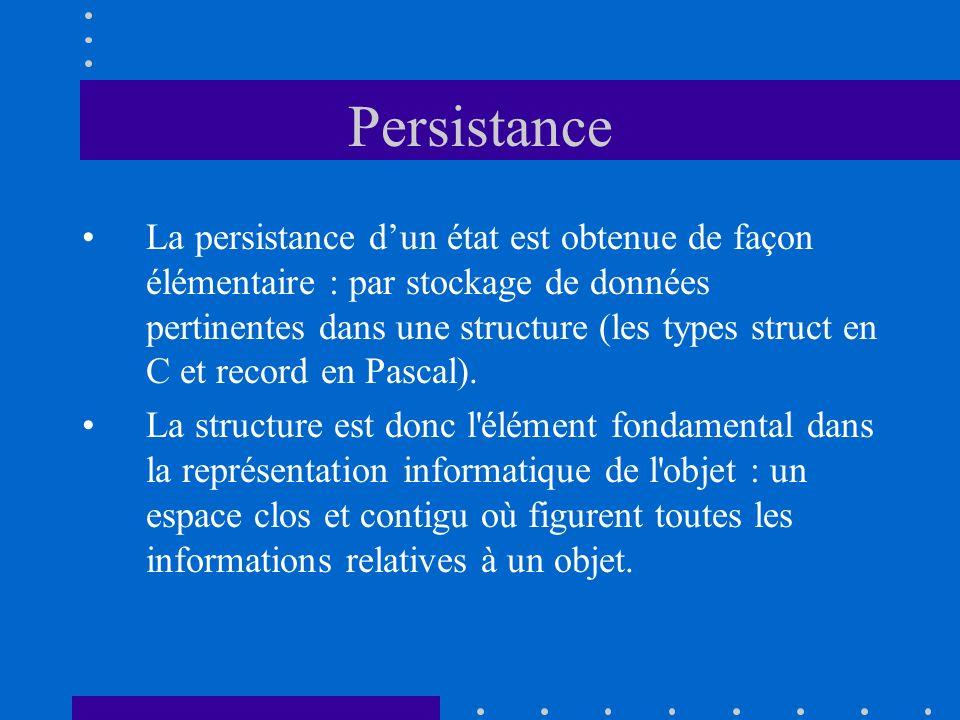 Persistance La persistance dun état est obtenue de façon élémentaire : par stockage de données pertinentes dans une structure (les types struct en C et record en Pascal).