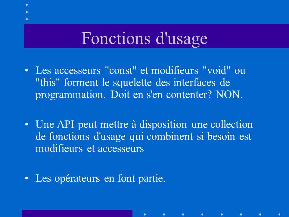 Fonctions d usage Les accesseurs const et modifieurs void ou this forment le squelette des interfaces de programmation.