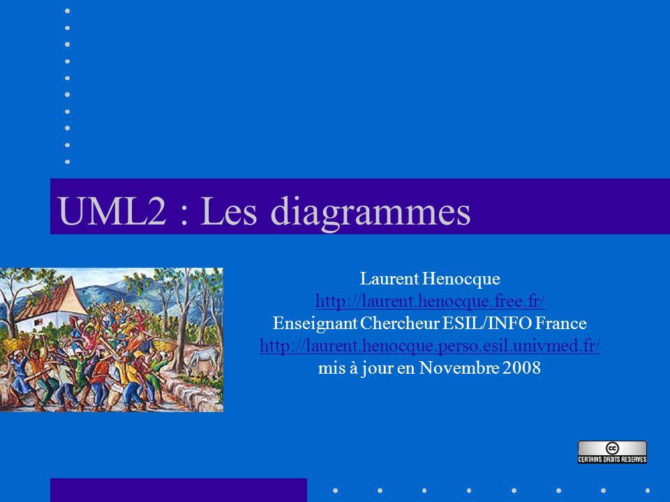 UML2 : Les diagrammes Laurent Henocque http://laurent.henocque.free.fr/ Enseignant Chercheur ESIL/INFO France http://laurent.henocque.perso.esil.univmed.fr/ mis à jour en Novembre 2008