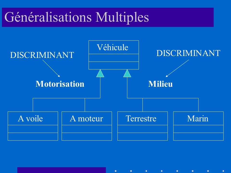 Véhicule A voileTerrestreA moteurMarin MotorisationMilieu DISCRIMINANT Généralisations Multiples