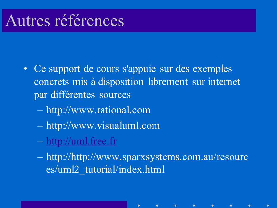 Autres références Ce support de cours s appuie sur des exemples concrets mis à disposition librement sur internet par différentes sources –http://www.rational.com –http://www.visualuml.com –http://uml.free.frhttp://uml.free.fr –http://http://www.sparxsystems.com.au/resourc es/uml2_tutorial/index.html