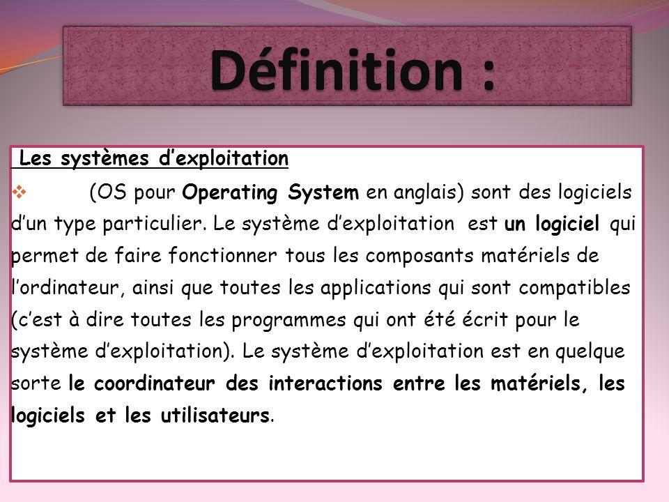 Les systèmes dexploitation (OS pour Operating System en anglais) sont des logiciels dun type particulier. Le système dexploitation est un logiciel qui