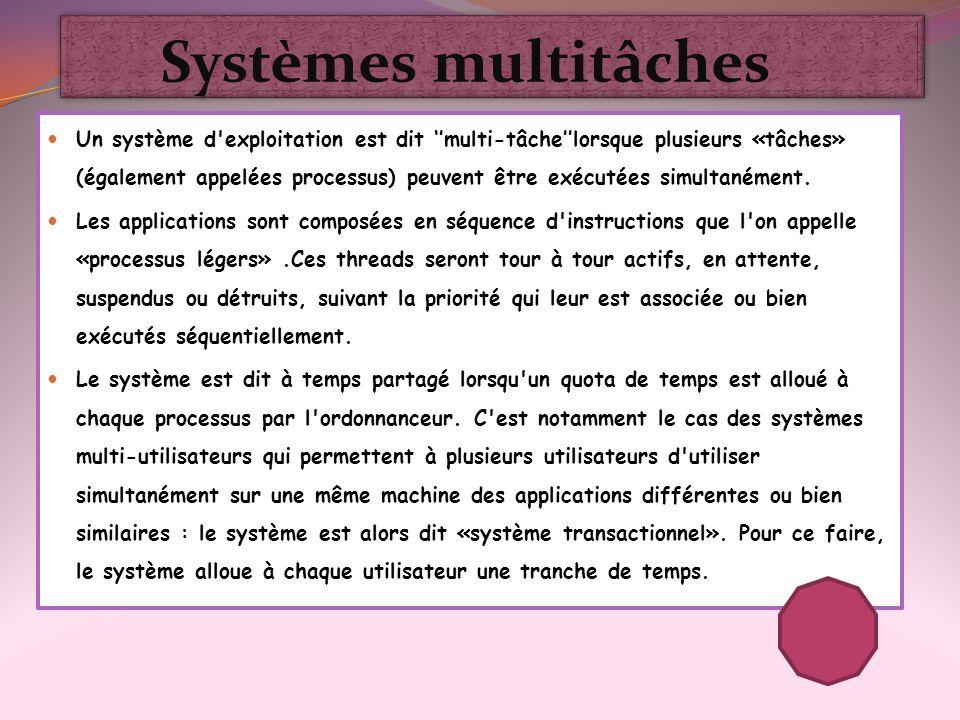 Systèmes multitâches Un système d'exploitation est dit multi-tâchelorsque plusieurs «tâches» (également appelées processus) peuvent être exécutées sim