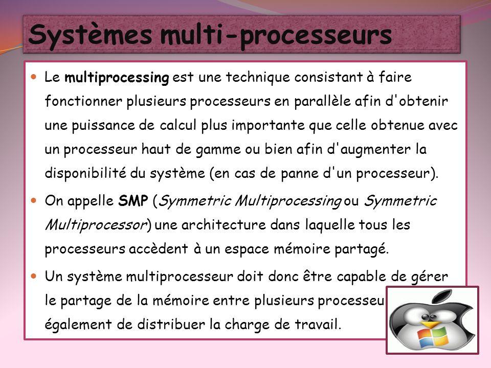 Le multiprocessing est une technique consistant à faire fonctionner plusieurs processeurs en parallèle afin d'obtenir une puissance de calcul plus imp
