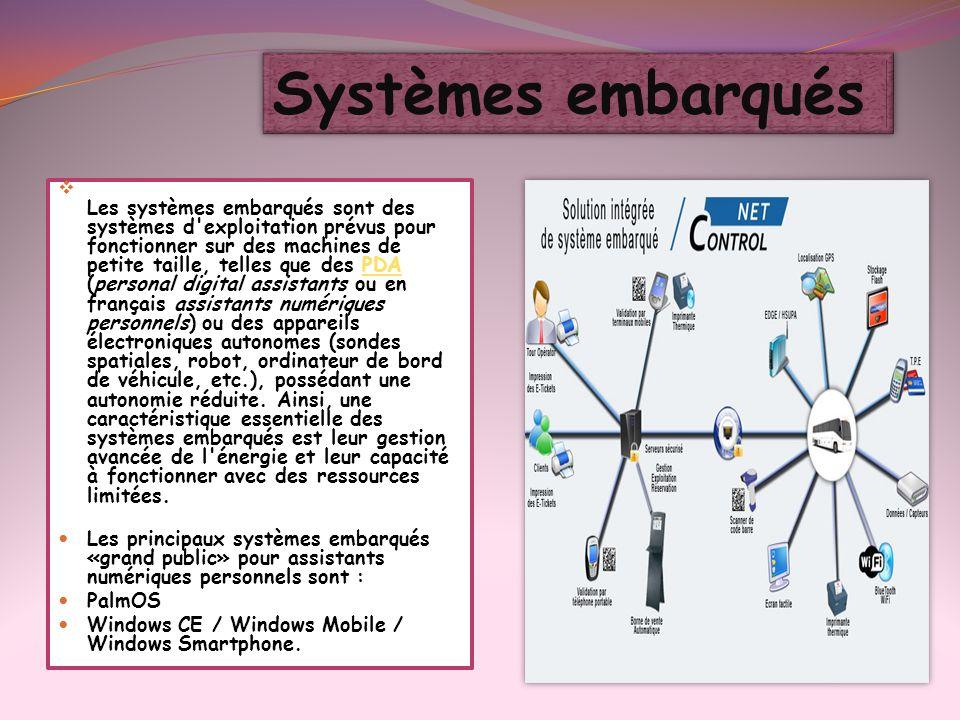 Les systèmes embarqués sont des systèmes d'exploitation prévus pour fonctionner sur des machines de petite taille, telles que des PDA (personal digita