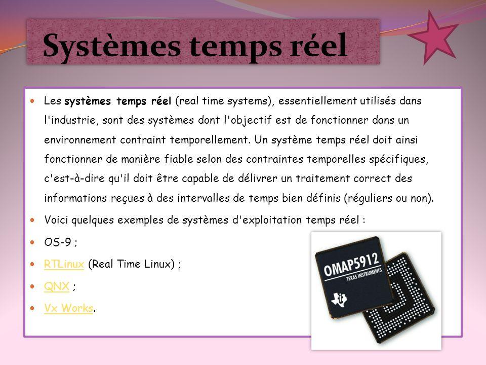 Systèmes temps réel Les systèmes temps réel (real time systems), essentiellement utilisés dans l'industrie, sont des systèmes dont l'objectif est de f