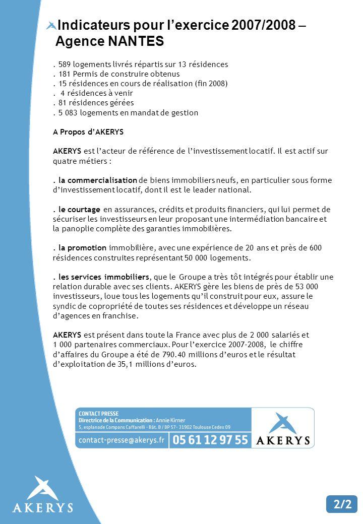Indicateurs pour lexercice 2007/2008 – Agence NANTES 2/2.