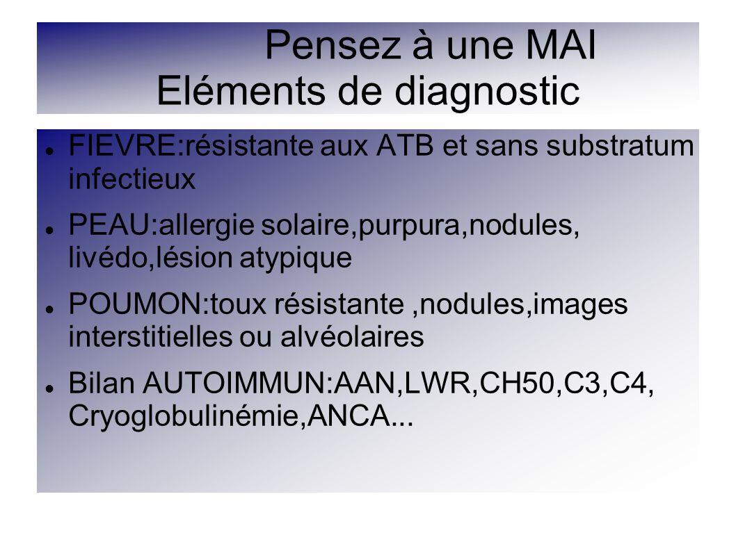 Pensez à une MAI Eléments de diagnostic FIEVRE:résistante aux ATB et sans substratum infectieux PEAU:allergie solaire,purpura,nodules, livédo,lésion a