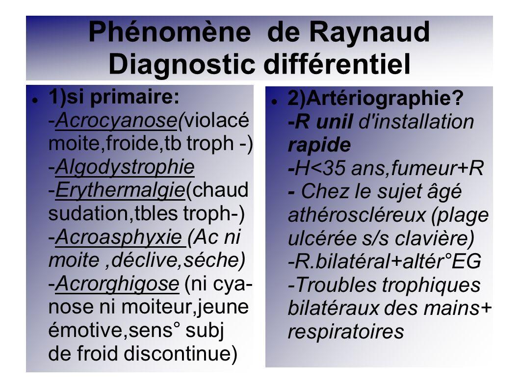 Phénomène de Raynaud Diagnostic différentiel 1)si primaire: -Acrocyanose(violacé moite,froide,tb troph -) -Algodystrophie -Erythermalgie(chaud sudatio