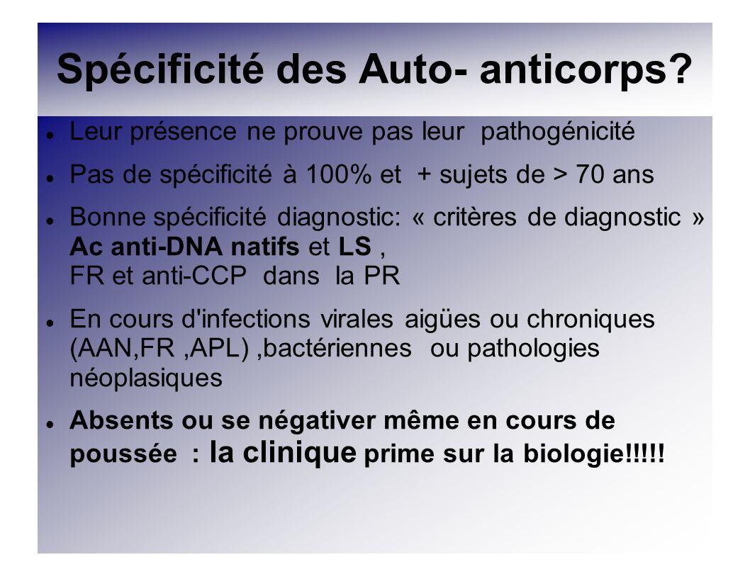 Spécificité des Auto- anticorps? Leur présence ne prouve pas leur pathogénicité Pas de spécificité à 100% et + sujets de > 70 ans Bonne spécificité di