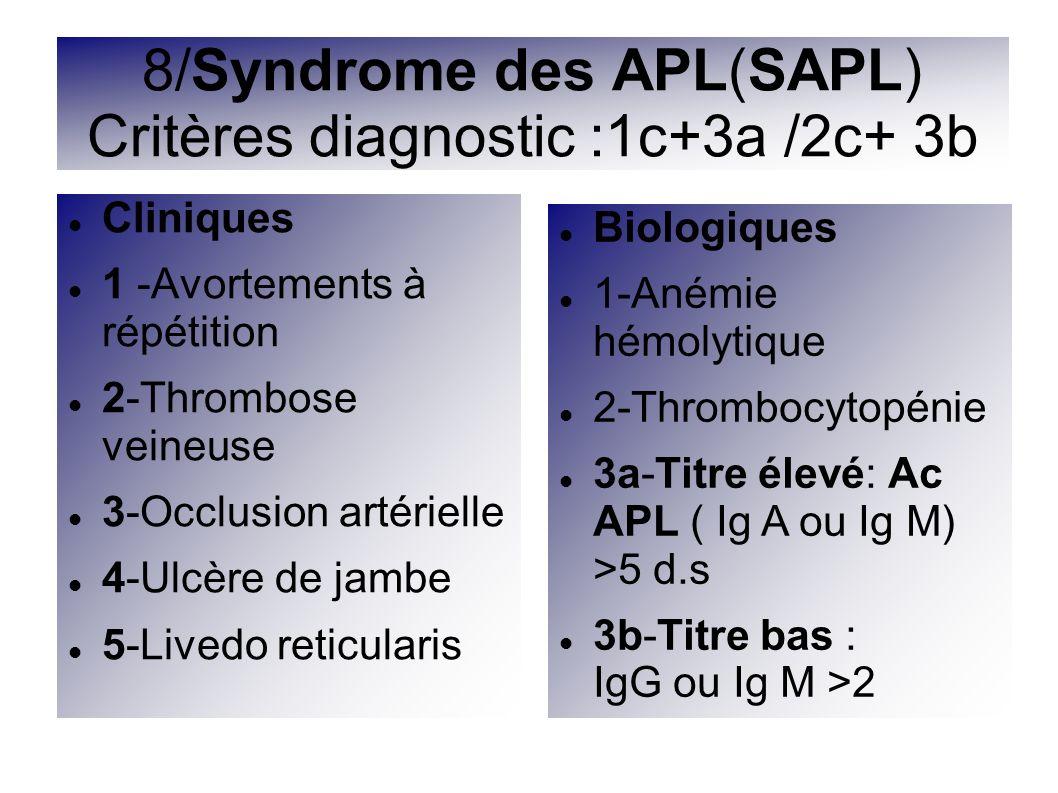 Cliniques 1 -Avortements à répétition 2-Thrombose veineuse 3-Occlusion artérielle 4-Ulcère de jambe 5-Livedo reticularis 8/Syndrome des APL(SAPL) Crit