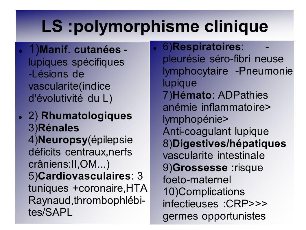 LS :polymorphisme clinique 1) Manif. cutanées - lupiques spécifiques -Lésions de vascularite(indice d'évolutivité du L) 2) Rhumatologiques 3)Rénales 4