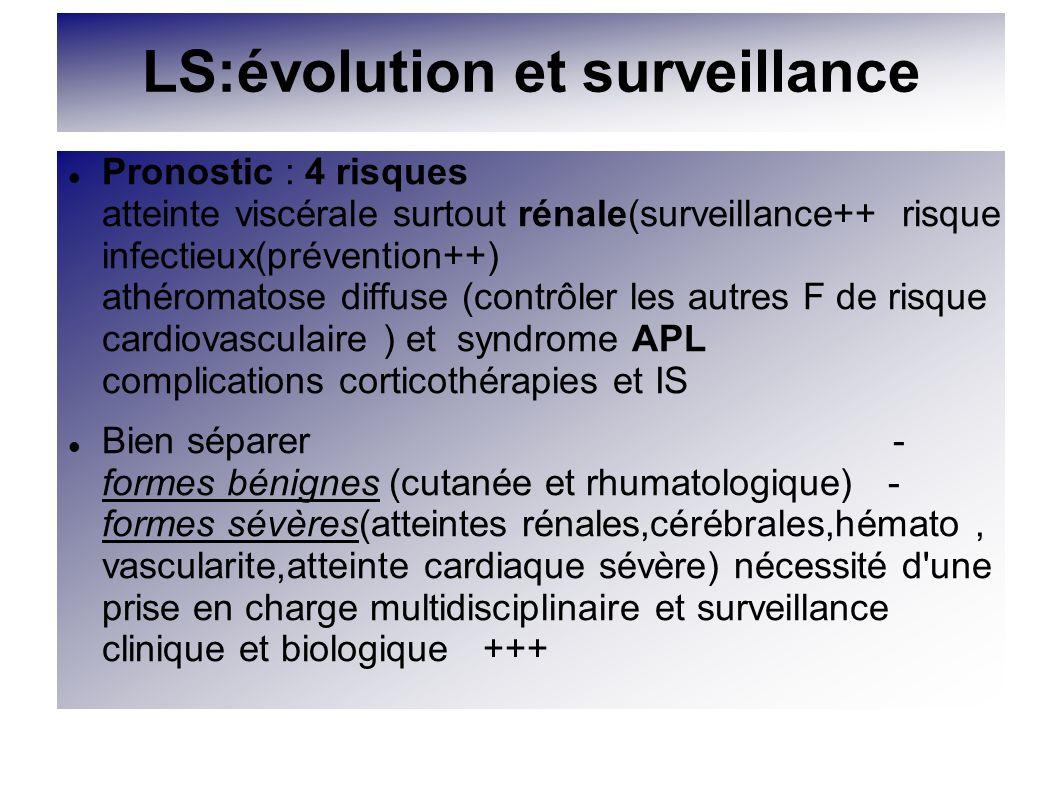 LS:évolution et surveillance Pronostic : 4 risques atteinte viscérale surtout rénale(surveillance++ risque infectieux(prévention++) athéromatose diffu