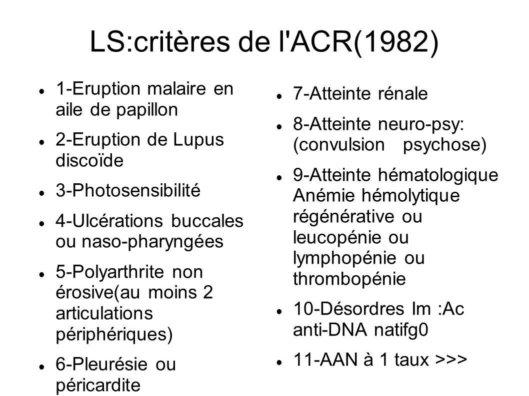 LS:critères de l'ACR(1982) 1-Eruption malaire en aile de papillon 2-Eruption de Lupus discoïde 3-Photosensibilité 4-Ulcérations buccales ou naso-phary